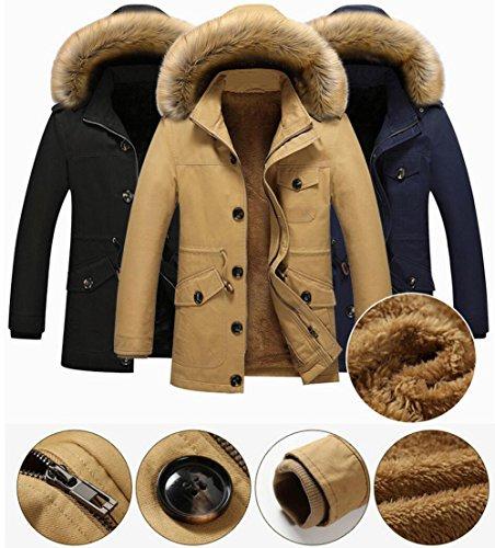 Herren Winterjacke mit Fleecefutter Windjacke mit Abnehmbarer Kapuze Wärmejacke Kapuzenparka Mäntel Outwear Blau