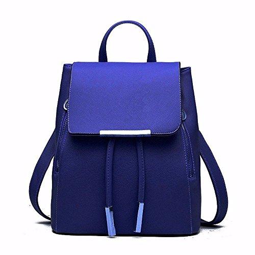 MSZYZ Weihnachtsgeschenke Fashion Umhängetasche Rucksack Pu Leder Frauen Mädchen Damen Rucksack Reisetasche Blau