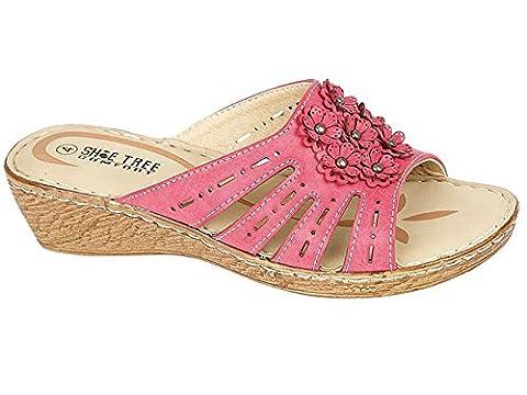 Ladies Foxglove Shoe Tree Leather Look Peep Toe Low Wedge Comfort Summer Casual Sandals Mules Shoe Pink 5 UK / 38