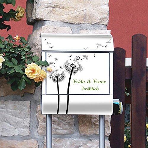 banjado – Individualisierter Briefkasten Standbriefkasten mit Burg-Wächter Standfuß und Motiv Pusteblume 2 - 4