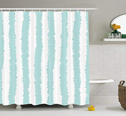 XIAOYI Aqua Shower Curtain, Vertical Striped Pattern with Sketchy Lines Hipster and Grunge Design Ikat Inspired, Fabric Bathroom Decor Set with Hooks, 60x72 Inches, Seafoam White -
