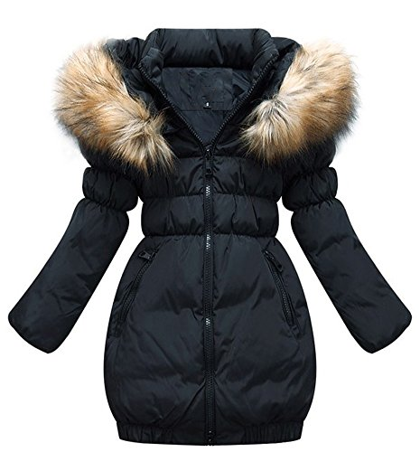 SMITHROAD Kinder Mädchen Winterjacke mit Kunstpelz Tailliert Lang Jacket Wintermantel Mantel Parka Oberbekleidung Winter … 4