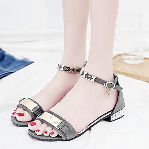 RUGAI-UE Semplice punta aperta studente sandali estivi scarpe alla moda Gray