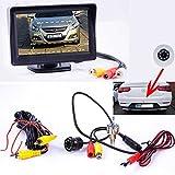 Flach Mini Rückfahrkamera mit Hilfslinien und FARB Monitor - LED Nachtsicht für PKW Auto, Kleine Bus - Rear View Camera Mit Kable & Normal Monitor