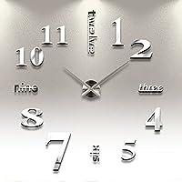 Reloj de Pared 3D con Números Adhesivos DIY Bricolaje Moderno Decoración Adorno para Hogar Habitación - Plateado