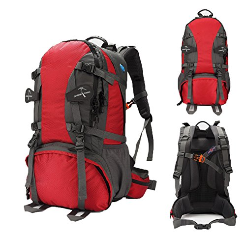 Outdoor Bergsteigen Tasche Camping Wasserdicht Reise Rucksack,LightGreen60L Red40L