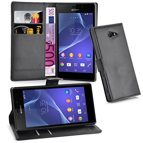 Cadorabo Hülle für Sony Xperia M2 Aqua Hülle in Phantom schwarz Handyhülle mit Kartenfach & Standfunktion Case Cover Schutzhülle Etui Tasche Book Klapp Style Phantom-Schwarz