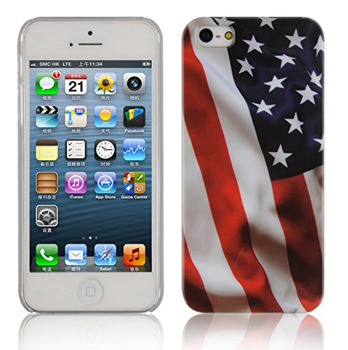 Cadorabo - Hard Cover für >          Apple iPhone 5 / 5S / SE          < - Case Cover Schutz-Hülle Bumper im Design: FOOTBALL STARS AND STRIPES