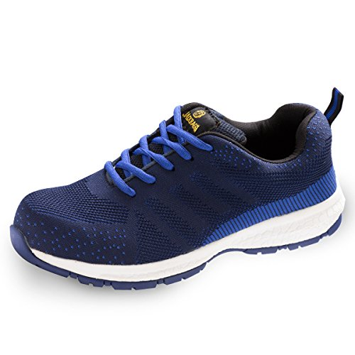 Athletic Bogen-unterstützung (JACKBAGGIO Herren Athletic Flyknit Leichtes Stahl Zehe Walking Safety Sneaker 8828 (10 UK/44 EU, Blau))