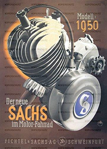 Fichtel & Sachs Retro Poster Werbeplakat – Der neue SACHS, Modell 1950, Größe DIN A1 (60 x 84 cm)