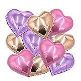 ballonfritz Herz-Luftballon-Set in Rosegold / Violett (Flieder) / Rosa 10-tlg. - XXL 18