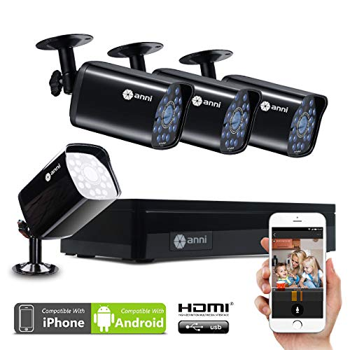 Dvr Security Kit (Anni Überwachungskamera System 4CH CCTV Sicherheits System, 1080n HD AHD DVR, (4) 1.0MP 720p 1500TVL Wetterfestes Outdoor Kamera, IR Nachtsicht, Easy Remote Zugang, ohne Festplatte)