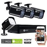Anni CCTV 1.0MP Sistema de Seguridad, 4CH 1080N HD AHD DVR 4x720p 1500TVL Cámara de Vigilancia, con visión Nocturna, detección de Movimiento, Smartphone, PC fácil Acceso Remoto, sin HDD