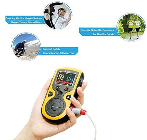 Cenblue Hand Spo2 Pulsoximeter mit Echtzeitmessungen, externe Finger-Sonde für Erwachsene und Babys, erweiterte Datenspeicherung und Review-Funktionen (Baby Modell)