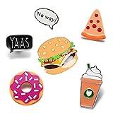 Set spille in metallo smaltato per decorare vestiti, borse e zaini Burger French Fries Pizza Lapel Pin