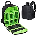 #8: House of Quirk Camera Bag Camera Backpack Waterproof Fabric, Anyprize SLR Camera, Lens, Tripod and Camera Accessories (Green)
