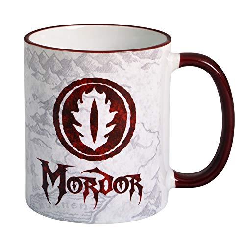 Elbenwald Mug Le Seigneur des Anneaux Mordor 320ml Céramique Blanc Rouge