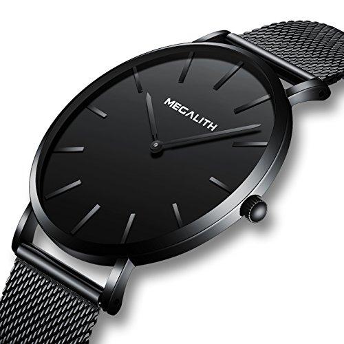 Relojes Hombre Relojes de Pulsera Deportivos Impermeable Acero Inoxidable de Malla Ultra Fino Negro Reloj Analogico Hombre Minimalista Negoci