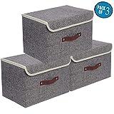 Cajas de almacenaje,Set de 3 Cajas de Almacenaje Cubos de Tela Organizador Plegable con Tapa y Ventana de...