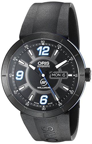 ORIS MEN'S 43MM BLACK RUBBER BAND STEEL CASE AUTOMATIC WATCH 73576514765RS