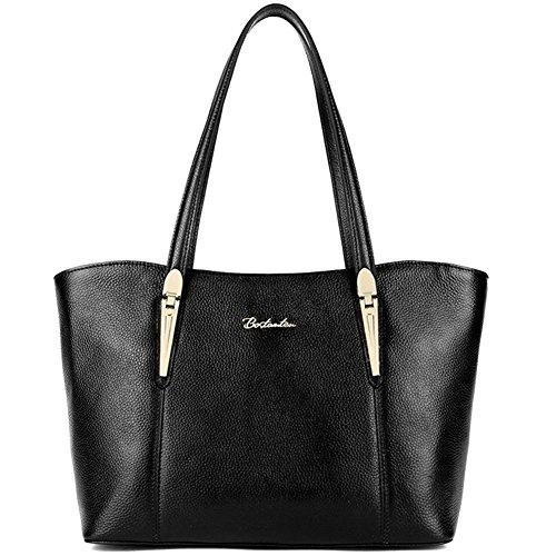BOSTANTEN Handtaschen Damen Leder Umhängetasche Schultertasche Shopper Tasche Schwarz (Designer Schultertasche)