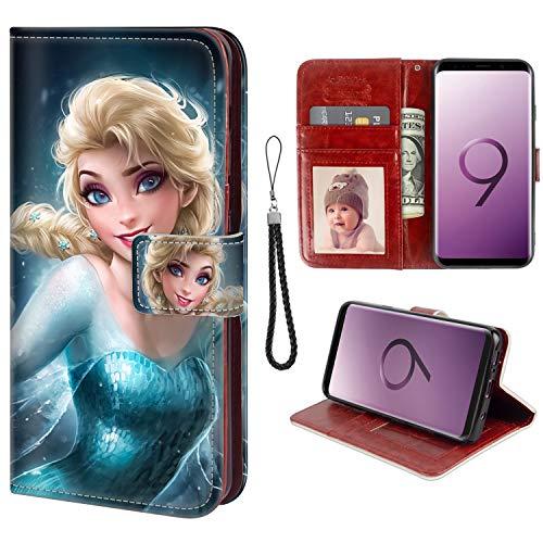 Disney Collection Étui Portefeuille en Similicuir pour Samsung Galaxy S9 Motif Pois colorés Sexy Elsa