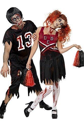 Herren Zombie Cheerleader Amerikanische Fußballspieler Halloween Kostüm - Schwarz, Ladies UK 12-14 & Mens Large (Cheerleader-zombie Kostüme)