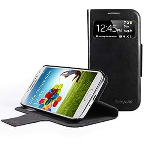 EasyAcc® Schutzhülle für Samsung Galaxy S4 View Flip Cover Hülle Kunstleder tasche mit View Window / standfunktion / Auto Sleep (Schwarz, Premium PU Leder)