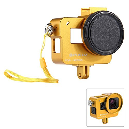 Joint Victory CNC Aluminum Alloy Housing Shell Hard Case Protective Cage with Cold Shoe Mount & 52mm UV Lens Filter for GoPro Hero 6/5 -No Back Cover (Gold) Gold Shoe Cover