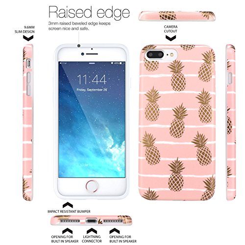 iPhone 7 Plus Hülle, JIAXIUFEN Shiny Gold Pineapple Baby Pink Marmor Flexible TPU Silikon Schutz Handy Hülle Handytasche HandyHülle Schale Case Cover Schutzhülle für Apple iPhone 7 Plus /iPhone 8 Plus Shiny Gold Pineapple Baby Pink