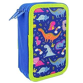 Starplast, Estuche Escolar Plumier, de Tres Cremalleras, Diseño Infantil, 20 cm x 6 cm x 13 cm, para Guardar Pinturas, Reglas y Material, Diseño Dinosaurios.