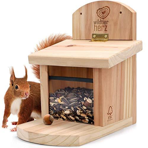wildtier herz   Eichhörnchen Futterhaus aus verschraubtem Massiv-Holz, wetterfest, Futterstation zum Eichhörnchen füttern, Eichhörnchenfutterhaus