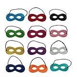 Tinksky Helden Masken Kinder Cosplay Masken Augenmasken Filz Halbe Masken mit Elastik Seil Für Kinder Maskerade Halloween Party, Packung von 12