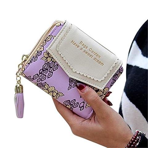 Kolylong Women Ladies flower print Clutch Wallet Short Card Holder Purse (Purple)