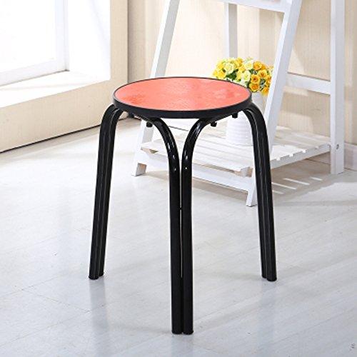 QINGPINGGUO QPG Hocker Verdickt Metall Stahl Runden Stuhl Drei Fuß Haushalt Erwachsenen Kunststoff Stühle Einfachen Hotel Tisch Hocker (Farbe : C) (Kunststoff-stahl-klappstuhl)