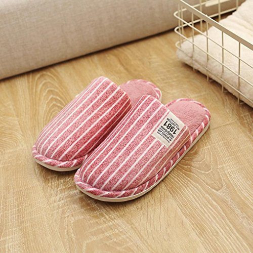 Ciabatte in cotone, Longra Tessuto di cotone Tempo libero invernale Stripe Anti Slip Home Pattini piani caldi in cotone Rosso