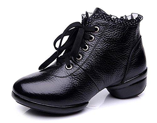 SHIXR Femmes Dancing Shoes Cuir respirant Femmes Dancing Shoes Dentelle Augmente Dancing Chaussures Soft Bottom Jazz Chaussures noir