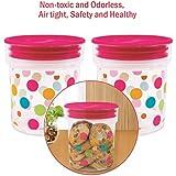 Frascos herméticos de plástico para alimentos - azúcar, té, café, caramelos, galletas, pasta, granos- contenedores de almacenamiento para cocina - 3lindos diseños, Polka Dots, Pack de 2