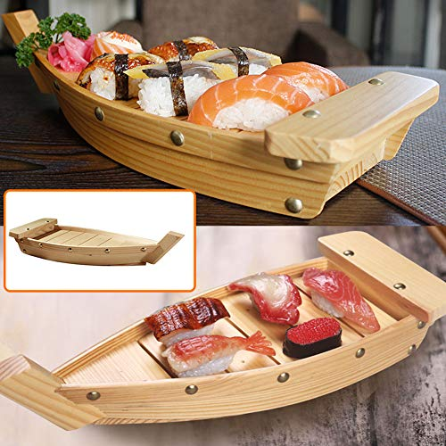 Bandeja de madera de Sushi para servir barcos, creativa, con forma de barco, plato japonés para comida de fiesta, aperitivos Características: Adecuado para el restaurante Sushi o el hogar. Una gran manera de impresionar a tus invitados de cena mientr...