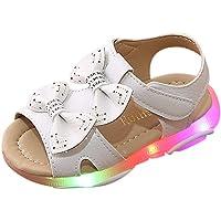 Toddler Baby Led Light Luminous Sandals Girls Bowknot Sport Sandals Flip Sneaker Shoes Flat Lightweight Casual Shoes…