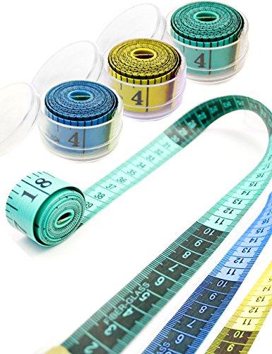 Muster Nähen Behälter (HOMETOOLS.EU® - Profi Maßband 1,5m | Messen beim Schneidern | mit Aufbewahrungs-Behälter Box 1,5m 150cm (gelb))