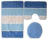 Orion Badgarnitur 3 tlg. Set 60x100 cm Blau WC Vorleger mit Ausschnitt für Stand-WC