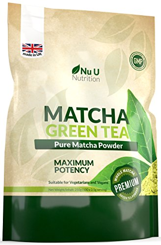 Matcha Green Tea Powder | Premium Grade 250g Double Size Pouch | Matcha Tea Ultra Fine Easy to Mix Matcha Powder | Perfect for Smoothies, Drinks & Baking | Vegan & Vegetarian | 100 Servings
