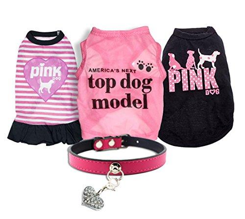 Ollypet 5er Set Bulk Dog Kleidung Hemd Halsband für Kleine Hunde Mädchen Zubehör Welpen Katze Rosa Haustier süße Sommer Kleidung Chihuahua Yorkie, L, Rose - Kleiner Mädchen-kleidung Hund