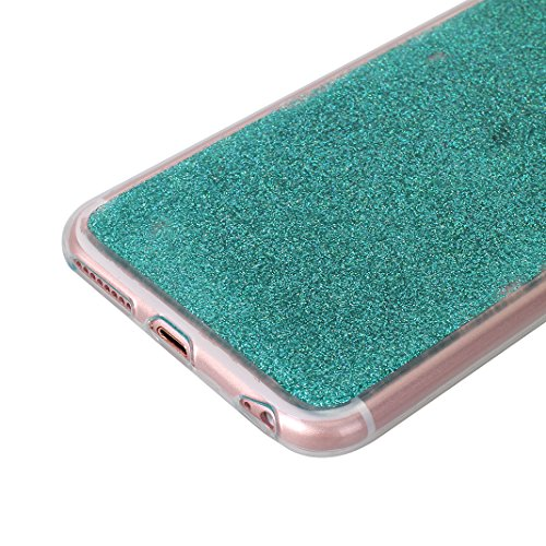 Coque iPhone 6S Arrière Étui, Coque iPhone 6S TPU Bumper, Case iPhone 6 Bling, Moon mood® Brillante Sequins Paillettes Silicone Souple Houss Coque de Protection Soft Case Cover Dossier Étui de Protect Vert