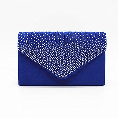 Lady Clutch Bag Strass Schultertasche Elegante Plissee Umschlag Abend Handtasche Hochzeit Tasche Geldbörse Für Frauen Blue1