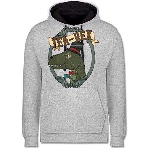 Comic Shirts - Tea-Rex - Kontrast Hoodie Grau meliert/Dunkelblau