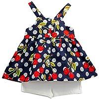 Wongfon Ragazze Ciliegia Camicetta Senza Maniche in Chiffon Stampato +  Pantaloncini Outfit Abbigliamento Estivo Set per 6acde574b83