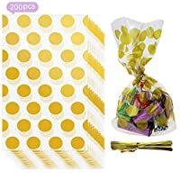 Gold polka dot candy bags 200PCS candy cookie bags 5 x 8 inch for Christmas Wedding Party Birthday Engagement Holiday Favor