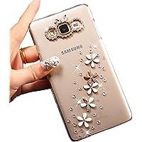 Sunroyal® Ultra Sottile Bling Duro Back Custodia per Samsung Galaxy J3 (2016) SM-J320F, 3D Transparente Chiaro Glitter Diamanti Case Cover Posteriore Telefono Protector (Fiori di Cristallo)